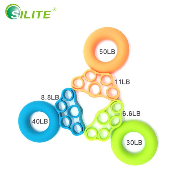 SILITE 2pcs Hand Grip Silicone Grip Ring Finger Trainer Hand Exercise Gym Fitness Finger Ring Puller Exerciser