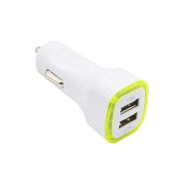 5V 2.1A Puertos USB duales Adaptador de cargador de coche con luz LED Adaptador de carga universal para iphone Samsung S7 HTC LG Teléfono celular
