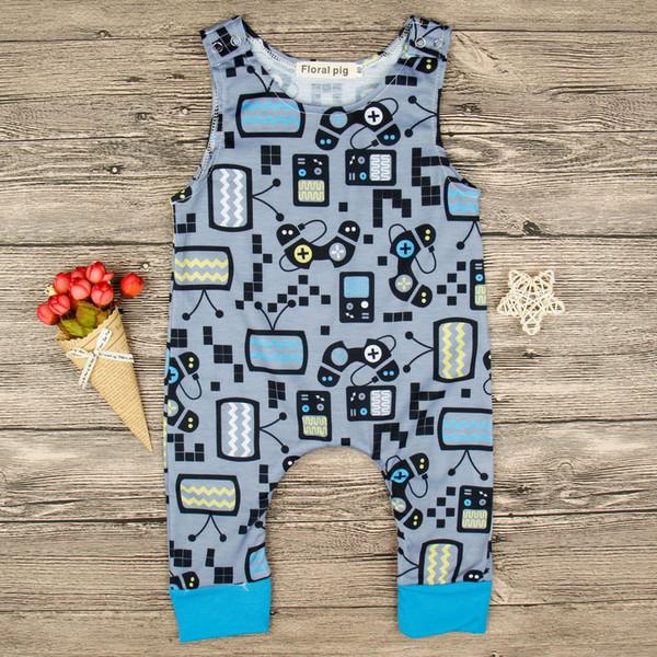 Nettes neugeborenes Baby kleidet Sommer 2018 einteiligen Babyspielanzug-Spielkonsolen Fernsehmuster-Kleinkind-Mädchen-Jungen-Ausstattungs-Overall-Kleidung 0-24M
