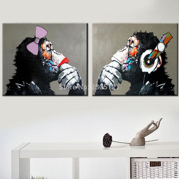 hand painted black white gray wall art animal oil painting funny monkey pictures Gorilla orang canvas art unique gift present