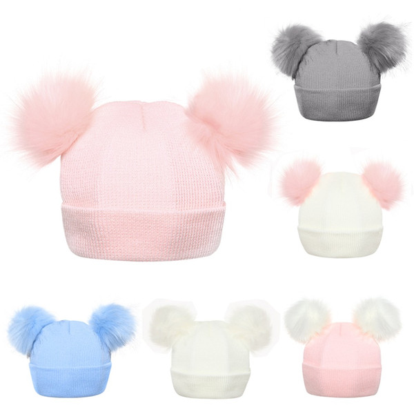 2018 Winter Knitted Baby Hats 2018 Girls Boys Sweet Solid Hat With Two Fur Pompoms Balls Kids Caps For Baby Girls Warm Soft Hat Cap