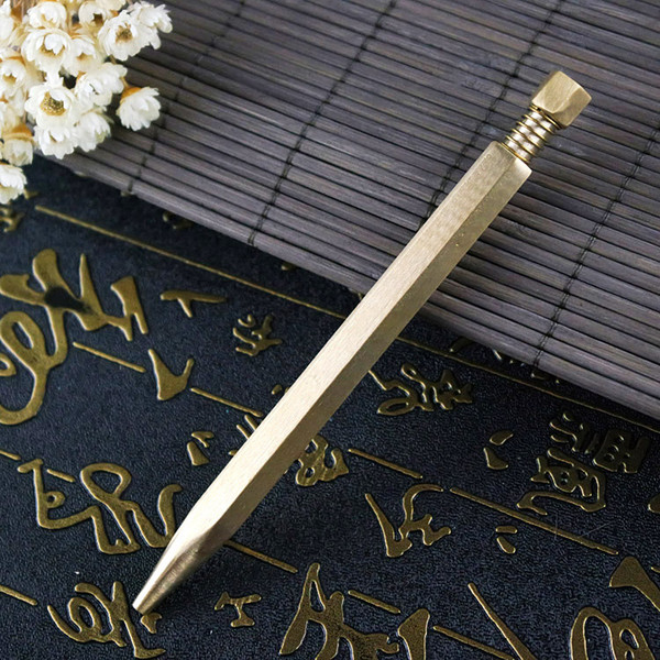 Creative Business Meeting Signing Pen High-grade Brass Metal Ballpoint Pen Creative Pressed Rotationally Fixed