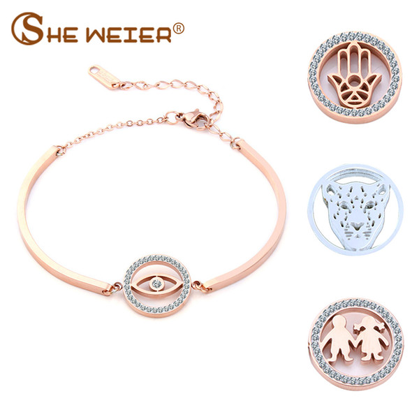 SHE WEIER couple female charm chain link bracelets bangles for women femme braclet braslet personalized anchor tree of life