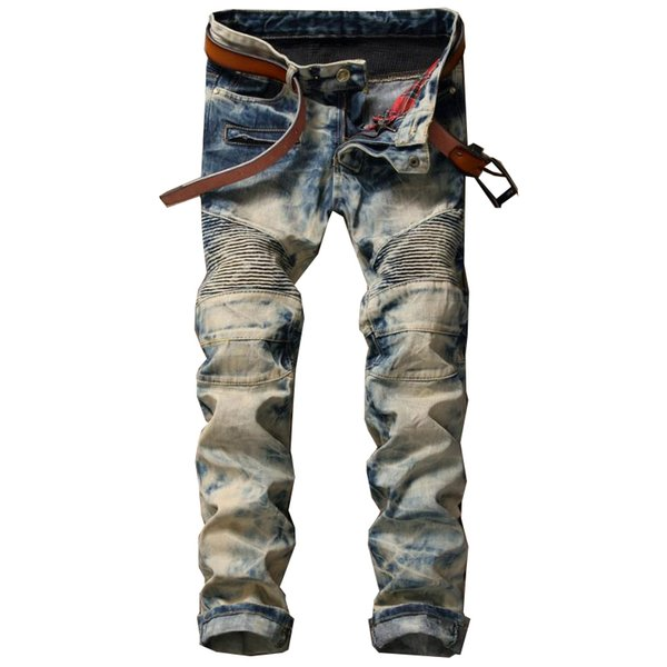 Vintage Jeans Fold Motorcycle Straight Slim Jean Pants Mens Tide Zipper Long Trousers Old Style Design