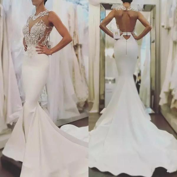 Sexy White Mermaid Lace Brautkleider Backless Sheer Neck Appliques ausgestattet Top Hochzeit Brautkleider Sweep Zug Custom Made Robe de Mariée