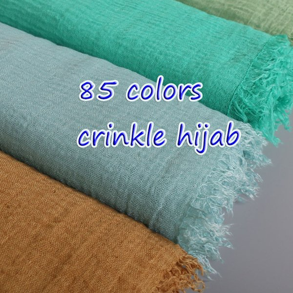 Women's Crinkled hijab Plain Wrinkle Bubble viscose long Scarf Women Crumple cotton Shawl and wraps Muslim headband bandana Y18102010