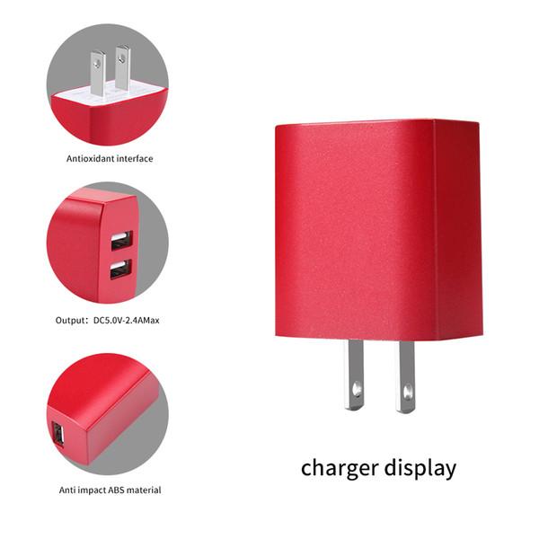 Adaptateur de chargeur de voyage intelligent 12W 5V2.4A, chargeur simple et double USB, EU US PLUG.Pour iPhone LG SAMSUNG SONY LEVEON HUAWWI XIOAMI