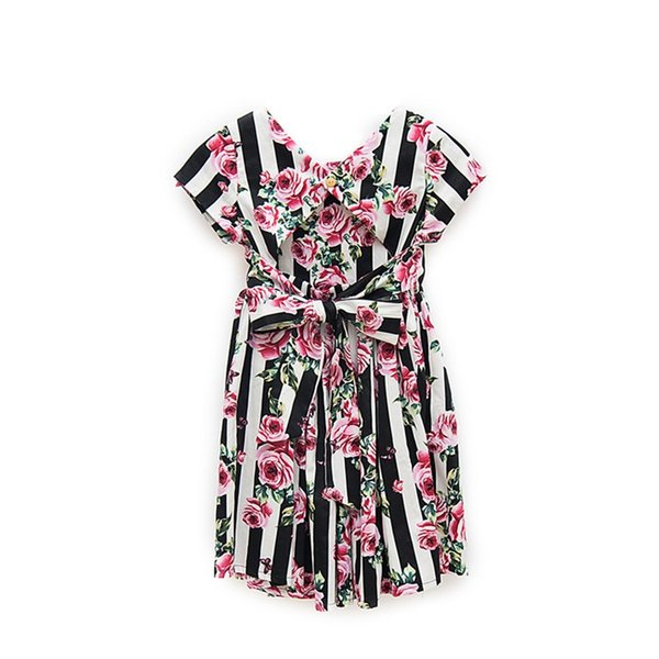 Vieeoease Girls Dress Floral Kids Clothing 2018 Summer Fashion Short Sleeve Bow Princess Party Dress EE-911
