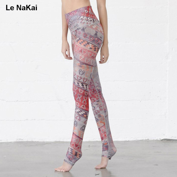 Le NaKai Retro Heart Print Bohemia women yoga legging high waist sports gym tights workout elastic althletic jogging trousers