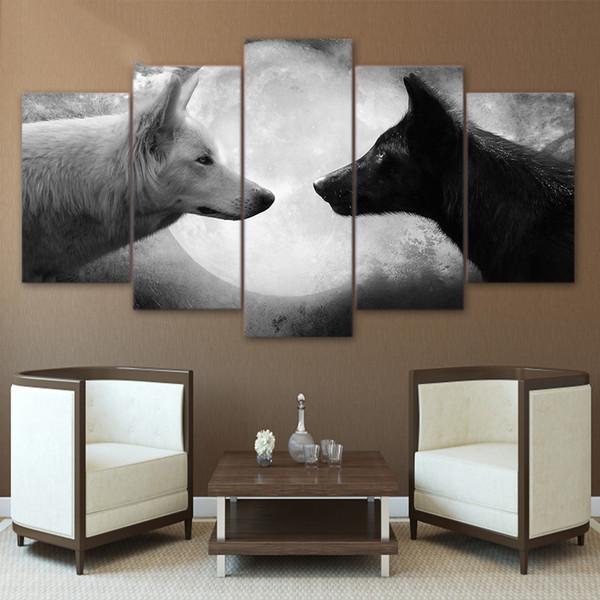 Dipinti di tela di Artryst Stampati 5 pezzi Lupi in bianco e nero Immagini di arte della parete della tela per soggiorno camera da letto Home Decor