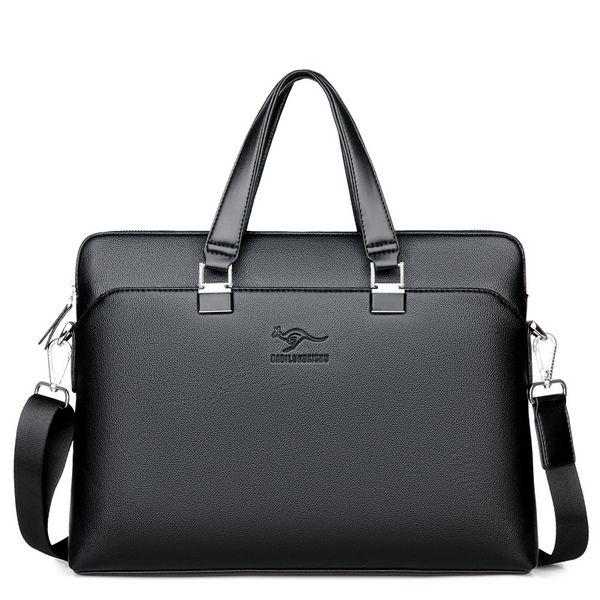 New Kangaroo Man's Briefcase Business Leisure Man's Single Shoulder Slope Computer File Bag Fashion Multipurpose Business Bag Wholesale