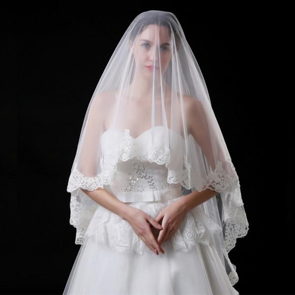 JaneVini 2018 Elegant Short Bridal Veils Soft Tulle White Lace Applique Edge Wedding Bride Veil Fingertip Veil One Layer Wedding Accessories