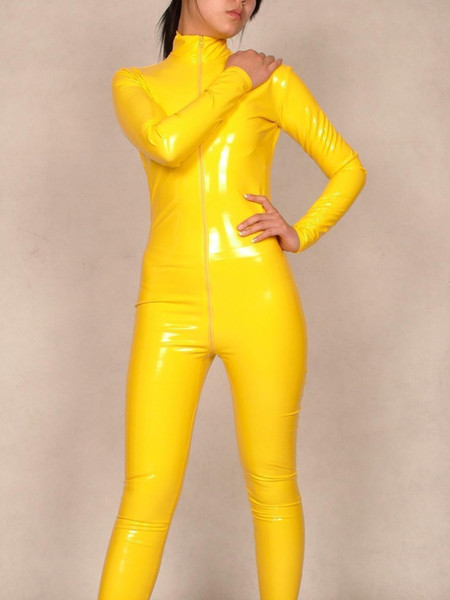 Nuevo estilo Spandex Sexy PVC amarillo Catsuit S-XXL