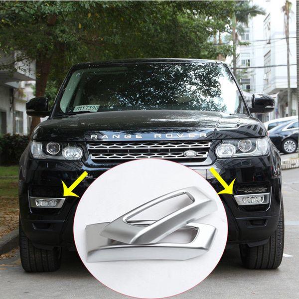 2pcs Chrome Gloss Black Front Lamp Light Cover Trim For Land Rover Range Rover Sport 2014-2017 Car Accessory