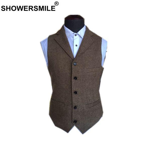 SHOWERSMILE Costume Veste Hommes Laine Tweed Style Britannique Gilet Marron Classique Slim Fit Herringbone Veste Sans Manches Plus La Taille 4XL
