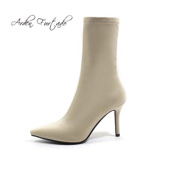 Arden Furtado 2018 spring autumn high heels 8cm stilettos pointed toe purple Stretch boots big size 41 half boots women's shoes