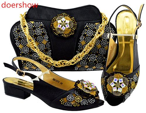 Italian Shoes and Bags To Match Shoes with Bag Set Decorated with Rhinestone Wedding Shoe and Bag Sets Italian Nigerian Shoes MBF1-39