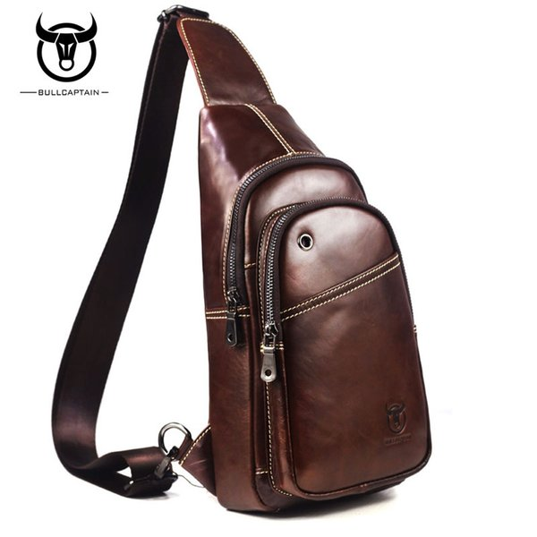14169dcfb5 BULL CAPTAIN Fashion Genuine Leather Crossbody Bags men Brand Small Male  Shoulder Bag casual music chest