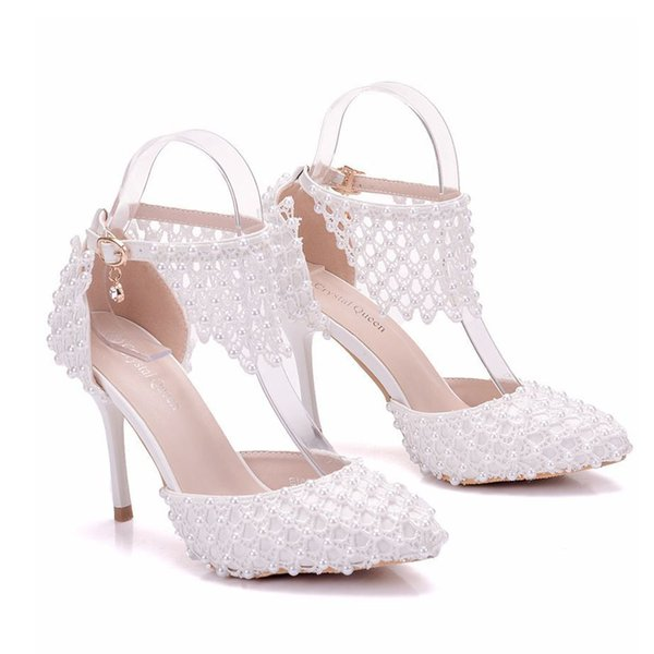 New Fashionl sexy pointed toe shoes for women White pearls high heel wedding shoes thick heels Beautiful lace Plus Size Shoes