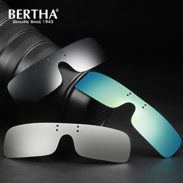 Bertha Polarized Clip on Sunglasses Square Polaroid Lens Men Women Myopia Flip Up Sun Glasses Night Vision Driving Clip on Glass