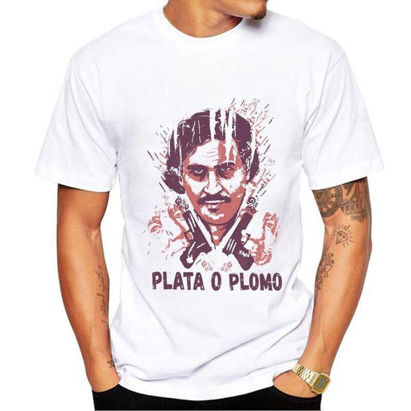 Personaje Estampado de algodón camiseta para hombre de la marca Narcos  Pablo Escobar Funny Man camiseta b8e7b1df5df