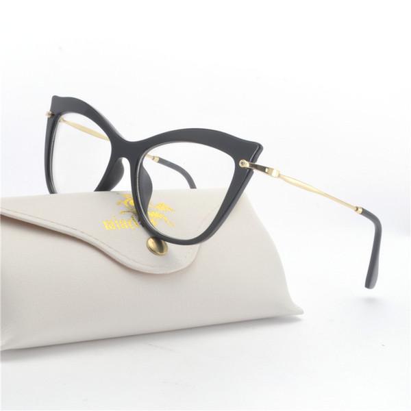 84760411e25 Новые 2018 моды Cat очки очки дизайн бренда Vintage Cat солнцезащитные очки  Frame Женщины сексуальный ясный черный леопард с коробкой FML