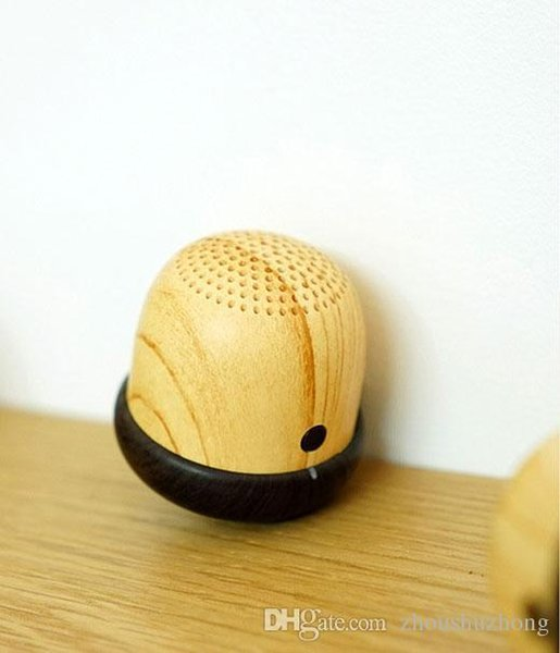 Nut Speaker Wooden bluetooth mini with Built-in Microphone & Strap Wood Loudspeaker for iPhone & Android Retail Box