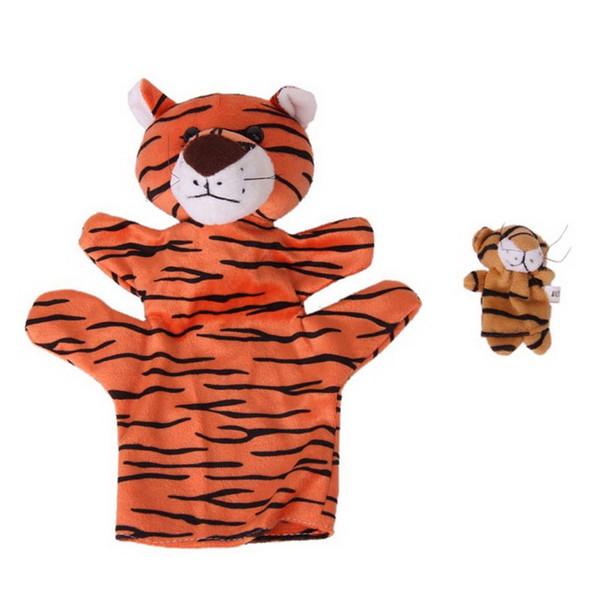 1 Pair Orange Tiger Hand Puppet Finger Puppet Animal Glove Puppet Hand Dolls Plush Toy
