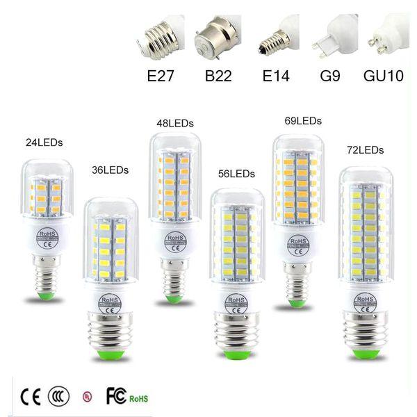 top popular SMD5730 E27 GU10 B22 E14 G9 LED lamp 7W 12W 15W 18W 20W 220V 110V 360 angle SMD LED Bulb Led Corn light 2019
