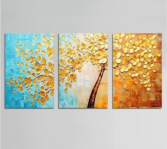 Unframed 3panels Yellow Flowers Palette Knife Oil Painting Modern Abstract Hand painted On Canvas Living Room Wall Art Picture