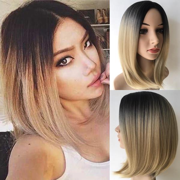Parrucca BOBO Sexy Ombre capelli corti per ragazza / donne Parrucca stile classico di alta qualità Breve capelli sintetici moda elegante