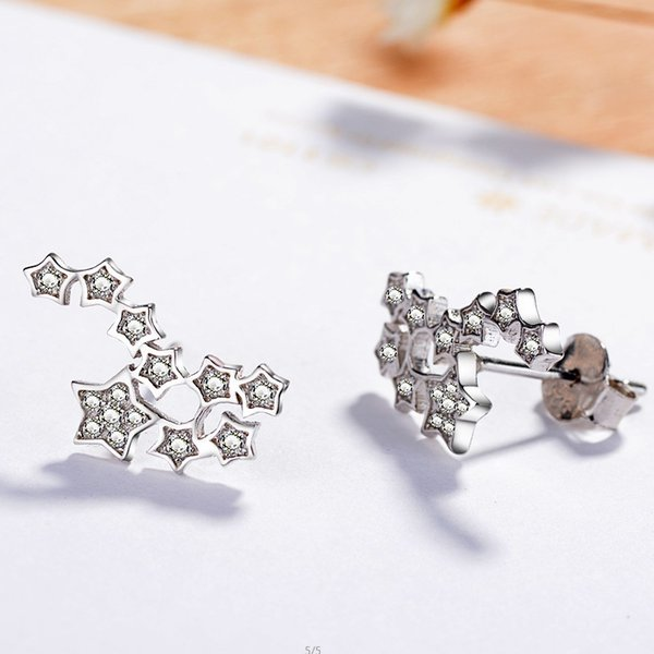 925 silver stud earrings package inserts can not afford to drill five-pointed star wild section mini ear bone nail