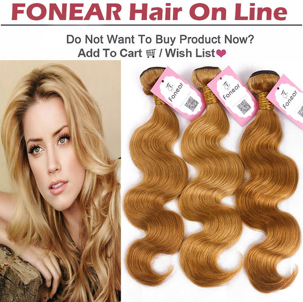Newest Chinese Virgin Hair Body Wave Bundles Light Brown Hair Weaves Unprocessed Cheap Extensions 27# 3 pcs Lots