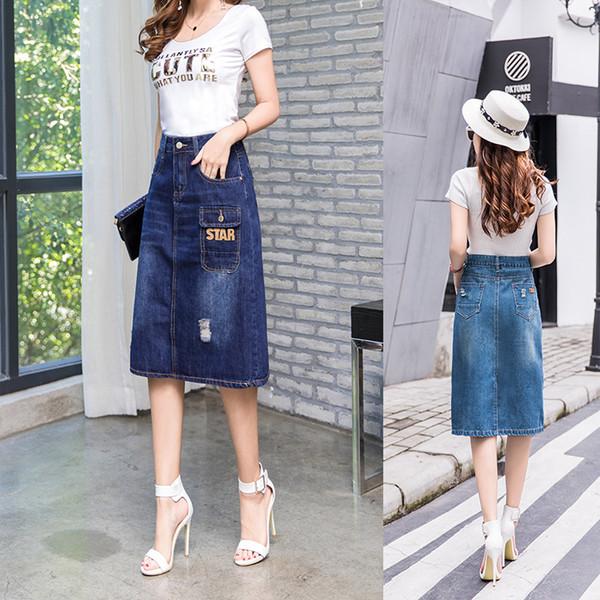 Der Sommer-Frühlings-Herbst-Denim-blauer langer Rock-Mädchen A-line des freien Verschiffen-neuen 2018 Frauen plus Größen-Mode-mittleres Kalb-Jeans-Rock