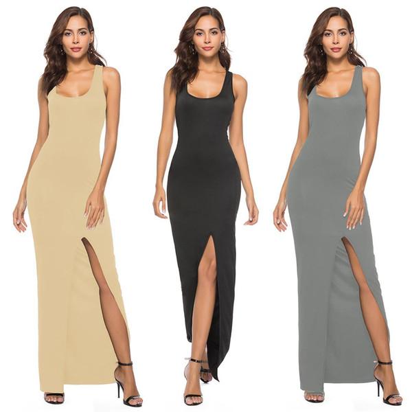 Vestido del chaleco de las mujeres calientes del verano elegante partido atractivo de la raja del color sólido vestido de la túnica del estiramiento alto