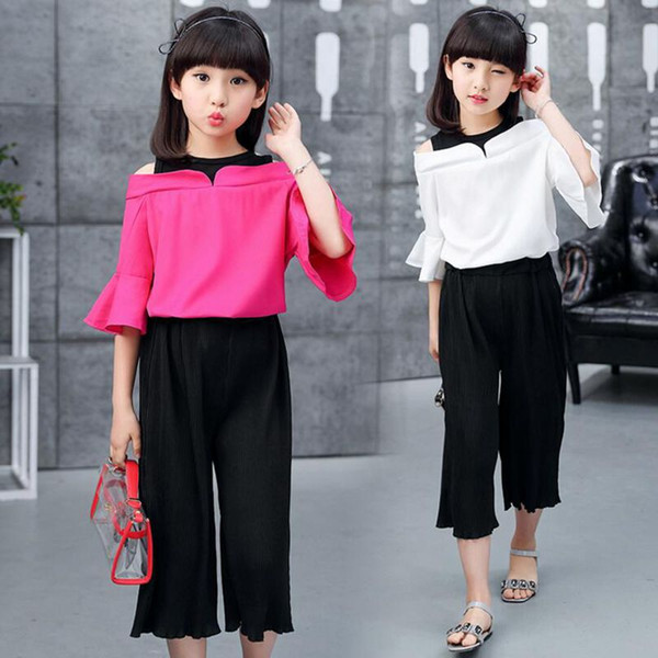 a7e495fa241de 2019 3 12Years Fashion Summer Teenage Girls Clothing Sets Baby Teenage Kids  Off Shoulder Half Sleeve Shirt+Pant From Anglestore, $7.03 | DHgate.Com