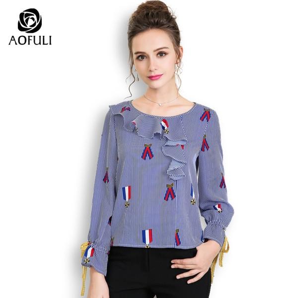 8d63ff55b1590 AOFULI L- 3XL 4XL 5XL Blue White Stripe Print Blouse Plus Size Long Sleeve  Shirt