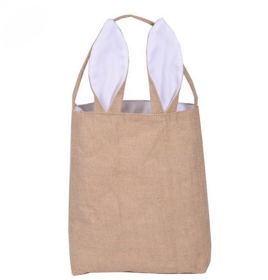 New Fashion Easter Bunny Ears Bag Jute Cloth Material Gift Bags Easter Children's candy bag Easter Handbag For Child Fine Festival Gift