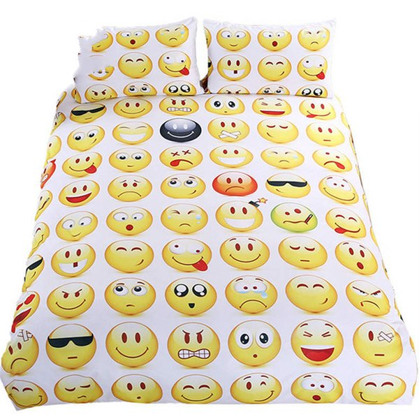 Emoji Bedding Set Cute and Fashion Duvet Sheet Cover for kids Printed Bedlinen 3Pcs Twin Full Queen King Bedspreads