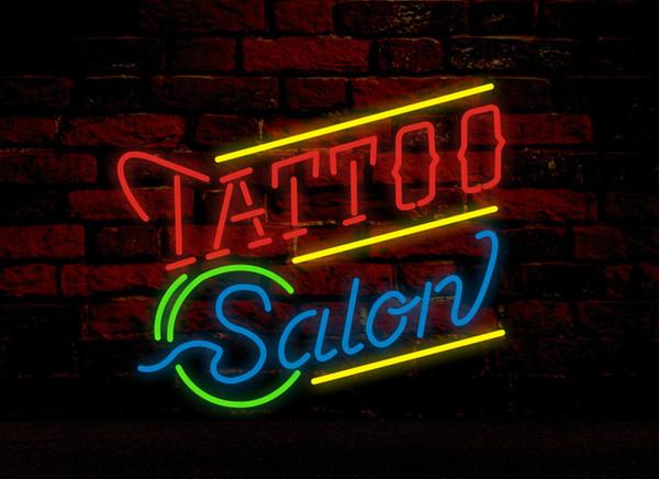 Tattoo Salon Leuchtreklame Real Glasrohr Bar CLUB Shop Business Werbung Dekoration Kunst Geschenk Display Metallrahmen Größe 24''X20 ''