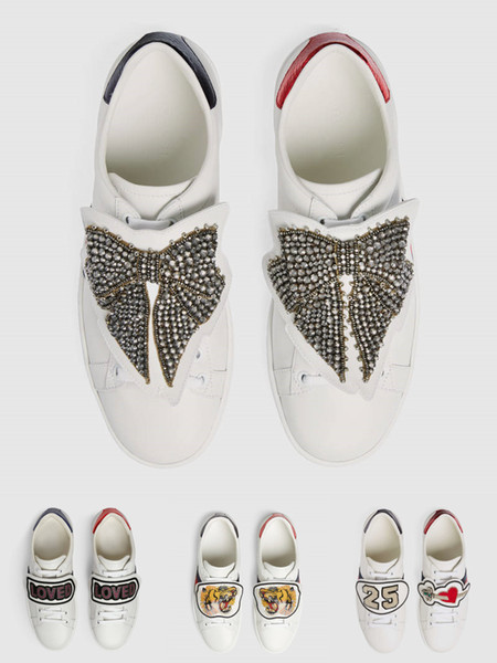 Mens designer luxury shoes Casual dress Shoes white women sneakers good embroidery tiger butterfly cats patch with OG box