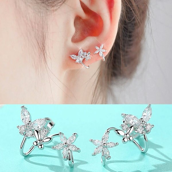Love S925 Sterling Silver sleeps without picking earrings, temperament, Korean personality, minimalism, anti allergy. Use butterfly love fl