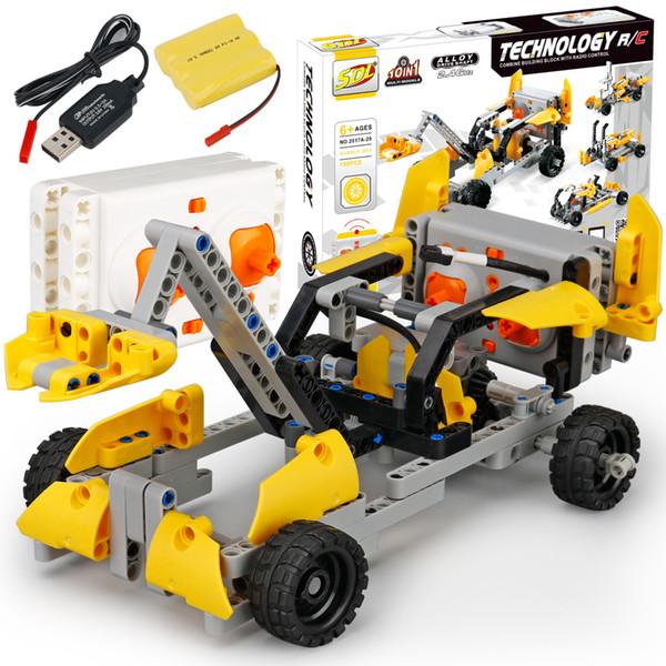 EBOYU(TM) SDL DIY Block Car 2CH 10 in 1 DIY Building Bricks Block RC Car 2017A-29 RC Racer Educational Toy