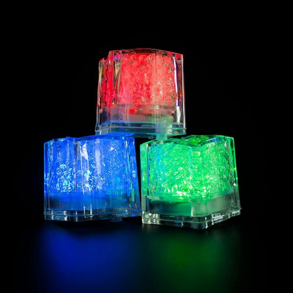 top popular Mini Romantic Luminous LED Ice Cube Artificial Flash Light 2.8cm Sparkling LED Ice Cubes Festive Party Wedding Christmas Decoration ISL01 2019