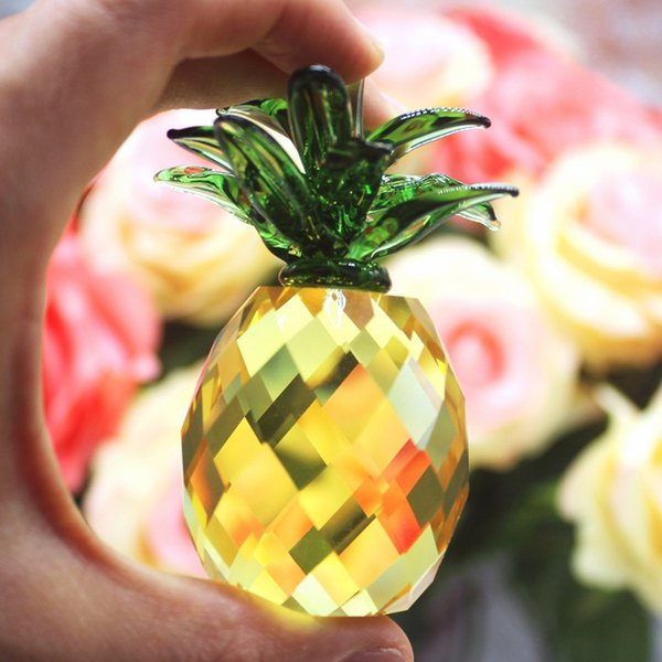 40mm Cut Crystal Crafts Pineapple Crystal Glass Paperweight Figurine Quartz Ornaments Home Decoration Christmas Souvenir Gifts