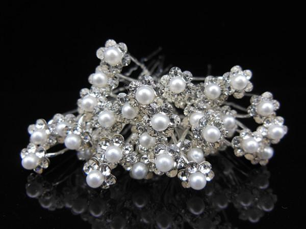 10PCS Bridal Hair Pins With Pearl Crystal Flower Wedding Dresses Accessories Clips U Pick Tiaras Bride jewelry Headpieces