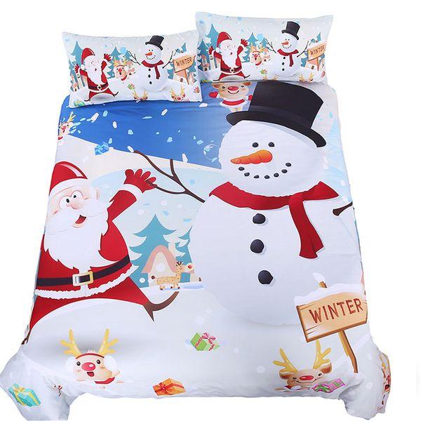 Joyeux Joyeux Noël Cadeau Enfants Housses de Couette Lits Reine Reine taille Santa Claus Bonhomme de neige enfants blanc bande dessinée Ensembles de literie