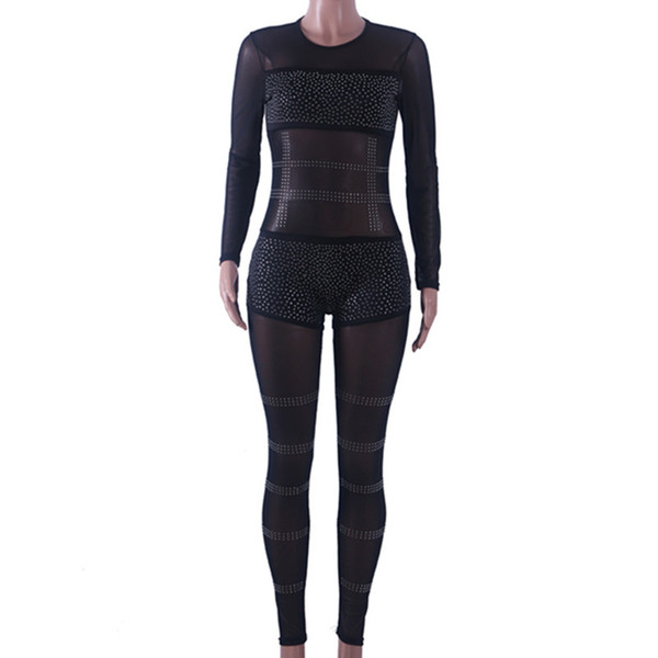 Fashion See Through Rhinestone Pattern Mesh Jumpsuit Nightclub Long Sleeve Black Sexy Rompers Womens Jumpsuit Patchwork Overalls