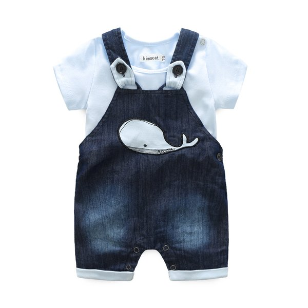Newborn Clothes Sets Baby Boy Clothing Summer Casual Suit Short Sleeve Rompers +Cartoon Dolphins Jeans Suspender Shorts 2pcs /Sets