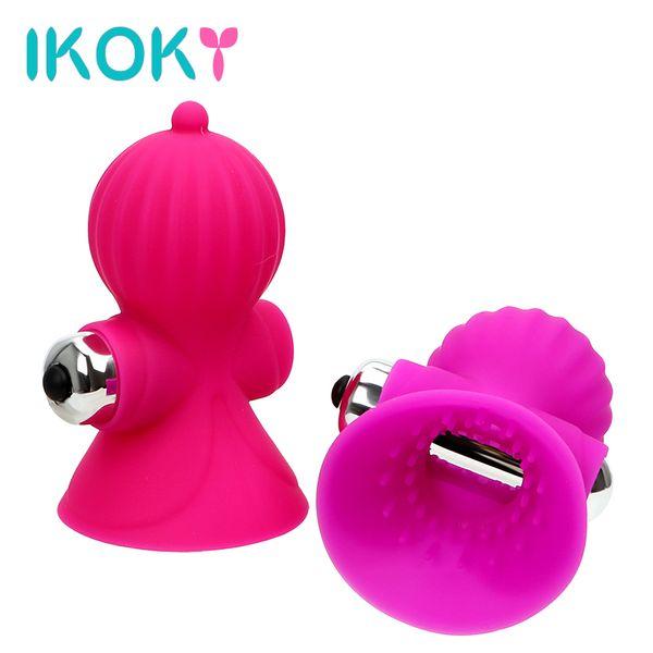 IKOKY Electric Nipple Sucking Vibrator Breast Massager Vagina Clitoris Stimulation Sex Toys For Women Multi Speed Waterproof